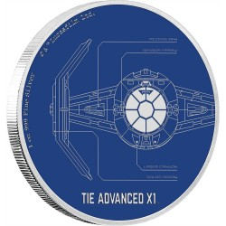 Niue 2 dollar 2017 Star Wars - Ships - 6. TIE Advanced X1™ - 1 Oz. zilver