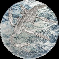 2020 PLESIOSAURIA Prehistoric Beasts - Mongolia 2000 Togrog 2020 3 oz silver coin