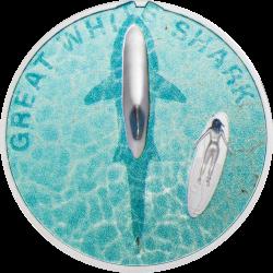 Palau 5 dollars 2021 - GREAT WHITE SHARK - 1 oz silver coin 5$
