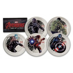 2015 Marvel AVENGERS AGE OF ULTRON - 5x Niue 2 dollars 2015 1 oz silver coin set