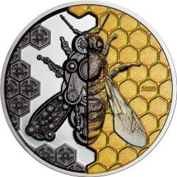 Mongolia 2000 Togrog 2021 - MECHANICAL BEE Clockwork Evolution - 3 oz silver coin