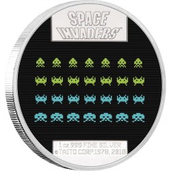 2018 SPACE INVADERS Arcade Games - Niue 2 dollars 1oz silver coin