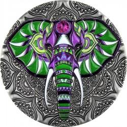Niue 5 dollars 2019 - Mandala Art ELEPHANT - 2 oz silver coin