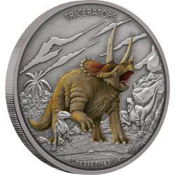 2020 Dinosaurs 2) Triceratops - Niue 2 dollars 1 oz silver coin