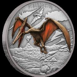 2020 Dinosaurs 3) Pterodactyl - Niue 2 dollars 1 oz silver coin