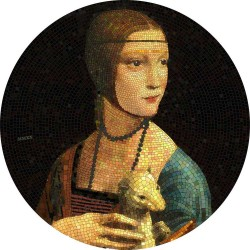 2020 LADY WITH AN ERMINE Da Vinci Great Micromosaic Passion - Palau 20 dollars 2019 3 oz silver coin 20$