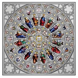 2021 ROSE WINDOW of Westminster Abbey North Rose - Solomon Islands 5 dollars 2021 150gr silver coin