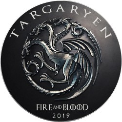 GAME OF THRONES - 2) Targaryen: Fire and Blood - USA 1 dollar 2019 1oz silver coin