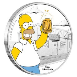 2019 The Simpsons 1) HOMER SIMPSON - Tuvalu 1 dollar 2019 1oz silver coin