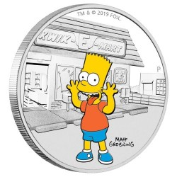 2019 The Simpsons 2) BART SIMPSON - Tuvalu 1 dollar 2019 1oz silver coin